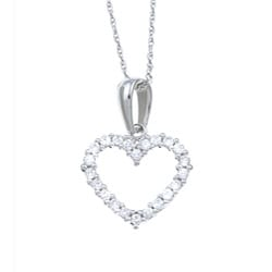 Eloquence 14k White Gold 1/4ct TDW Diamond Heart Necklace (H-I, I1-I2)