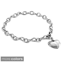 Stainless Steel Polished Heart Charm Bracelet