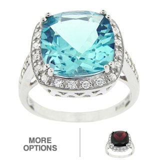 Glitzy Rocks Sterling Silver 10 3/8 CTW Square-cut Blue Topaz and Cubic Zirconia Ring