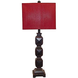 Ramoncito Black Distressed Wood Sqare Table Lamp