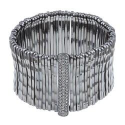 Celeste Gunmetal Bamboo Bar Pave-set Crystal Stretch Bracelet