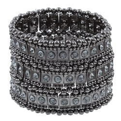 Celeste Gunmetal Black Crystal 3-row Stretch Fashion Bracelet