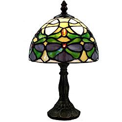 Tiffany-style Green Jeweled Lamp