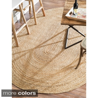 nuLOOM Alexa Eco Natural Fiber Braided Reversible Oval Jute Rug (8' x 10')
