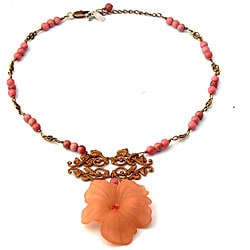Women's Bean Project Classic Rose Rhodonite Necklace (USA)
