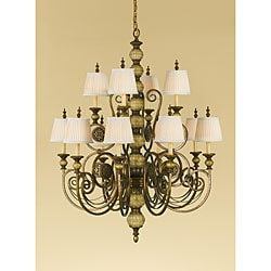 Florentine Dome 12-light 2-tier Firenze Gold Chandelier