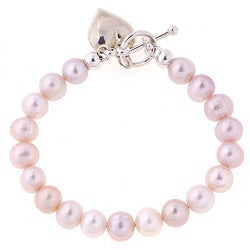Misha Curtis Sterling Silver Pink Pearl and Heart Charm Bracele
