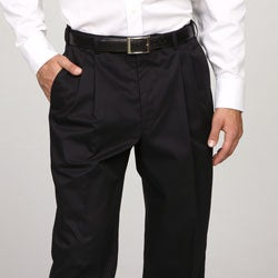 Austin Reed Men's Pleated Black Satin Twill Reflex Pants