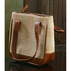 Leather and Cotton 'Petite Cinnamon' Handbag (Guatemala)