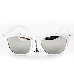 Women's White Glassy Wayfarer Sunglasses