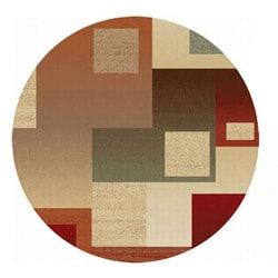 Abstract Red Rug ( 5'3 Round)