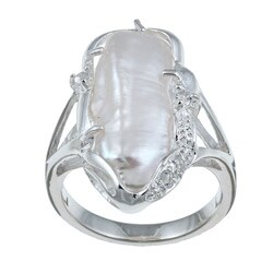 PalmBeach Cultured Freshwater Biwa Pearl with White Topaz Accents Sterling Silver Ring Naturalist