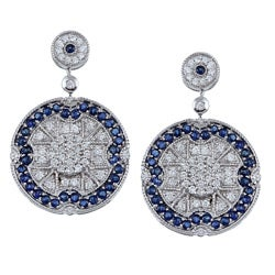 14k White Gold Sapphire and 3/4ct TDW Diamond Earrings (H-I, I1-I2)