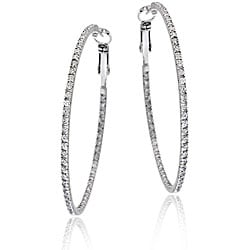 Icz Stonez Sterling Silver Large Inside-out Cubic Zirconia Hoop Earrings