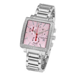 Stuhrling Original Women's Pink-Dial Diamond Chronograph Watch