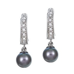 Pearls For You 14k Gold Akoya Pearl and 1/10ct TDW Diamond Earrings (6.5-7 mm) (G-H, SI2)