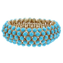 Celeste Gold Overlay 5-row Turquoise Crystal Stretch Bracelet