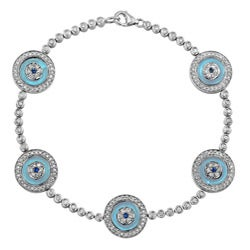 14k White Gold 1 1/4ct TDW Diamond and Sapphire Evil Eye Bracelet (J, I2)