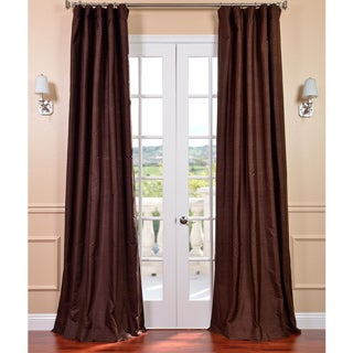 Signature Chocolate Textured Silk Curtain Panel