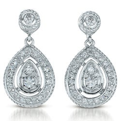 Collette Z Sterling Silver Clear Cubic Zirconia Pear-shaped Drop Earrings