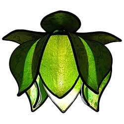 Silk Blooming Lotus Small Lime Hanging Lamp (Vietnam)