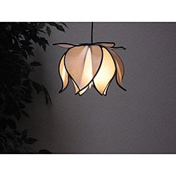 Small Blooming Lotus White Silk Hanging Lamp (Vietnam)