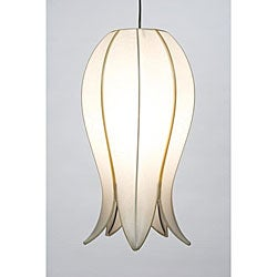 Medium Flowering Lotus White Silk Hanging Lamp (Vietnam)