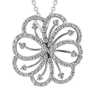 Collette Z Sterling Silver Clear Cubic Zirconia Flower Knecklace
