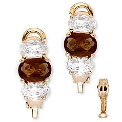 Collette Z Gold over Silver Oval-cut Brown and Clear Cubic Zirconia Earrings