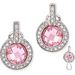 Collette Z Sterling Silver Pink and Clear Cubic Zirconia Circle Earrings