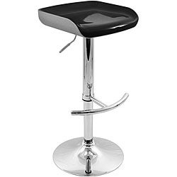 Shiny Chrome Adjustable Silver/ Black Barstool