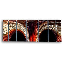 Ash Carl 'Solar Wave' 7-panel Metal Wall Art