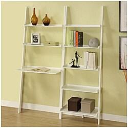 White 5-tier 2-piece Leaning Ladder Shelf with Laptop Desk Set