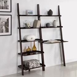 Walnut 5-tier 2-piece Leaning Ladder Shelf with Laptop Desk Set