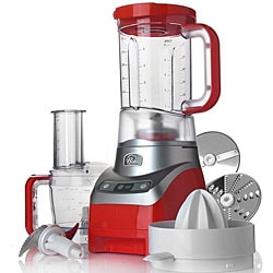 Wolfgang Puck Red 3-in-1 Blender, Food Processor and Juicer with WP Recipes (Refurbished)