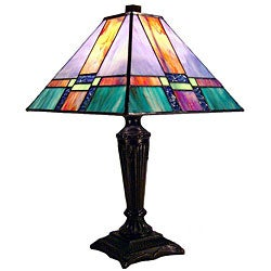 Tiffany-style Mission Iridescent Blue Table Lamp