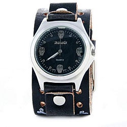 Nemesis Men's Vintage SkullFace Leather Band Quartz Watch