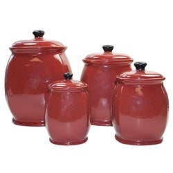 American Atelier 'Hearthstone' Chili Red 4-piece Canister Set