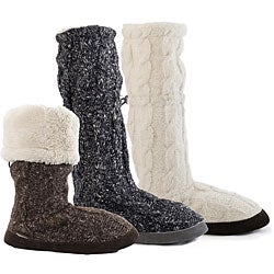 Muk Luks Women's Fluffy Cable Toggle Boots