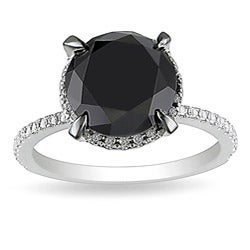 10k White Gold 4 3/4ct TDW Black Halo Diamond Ring (G-H, I2-I3)