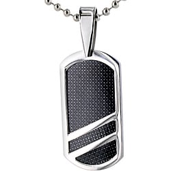 West Coast Jewelry Stainless Steel Black Fiber Inlay Dog Tag Necklace