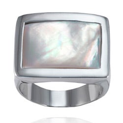 Stainless Steel Mother Of Pearl Square Ring