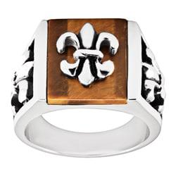West Coast Jewelry Stainless Steel Men's Tiger's Eye Fleur De Lis Ring