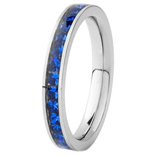 Stainless Steel Polished Dark Blue Cubic Zirconia Band Ring