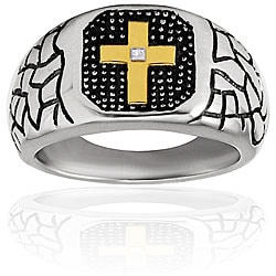 West Coast Jewelry Stainless Steel Goldplated Cross Cubic Zirconia Ring