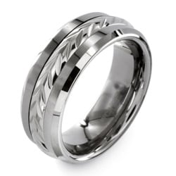 Men's Tungsten Carbide Laurel Inlay Ring