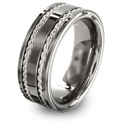 West Coast Jewelry Men's Tungsten Carbide and Sterling Silver Inlay Band