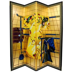 Silk and Wood Gold Leaf Kimono Room Divider (China)