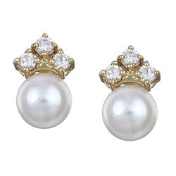Pearls For You 14k Gold Akoya Pearl and 1/2ct TDW Diamond Earrings (7.5-8 mm) (H-I, SI2)