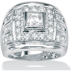 PalmBeach CZ Sterling Silver Men's Clear Cubic Zirconia Ring